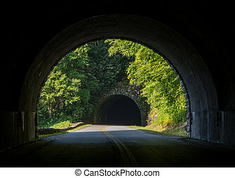 Inside the Twin Tunnels on Blue Ridge Parkway