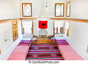 GJIROKASTER, ALBANIA-JUNE 7, 2014 : Inside traditional Albanian house on June 7,2014 in Gjirokaster, Albania.