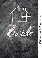 Inside use sign drawn on a blackboard