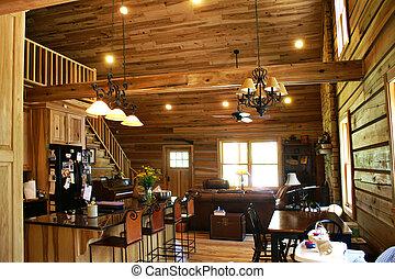 Living room view of inside a modern log cabin