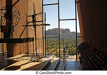 Inside view of Chapel of the Holy Cross in Sedona, Arizona. Designed by a student of Frank Lloyd Wright.