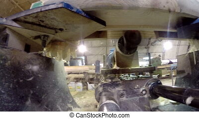 Inside view of milling machine. Shavings, close-up - Inside...