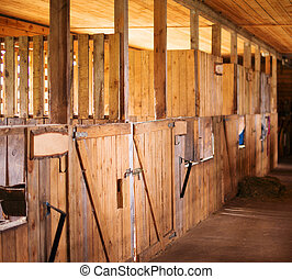 Inside view of Old rural stable.