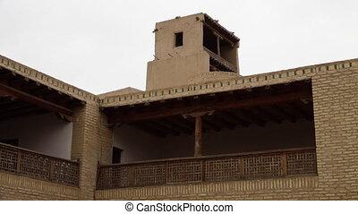 Inside walls of a temple complex in Uzbekistan - A medium,...