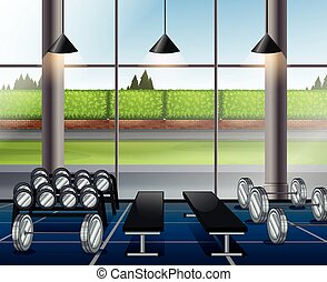 Inside weightlifting room with benches