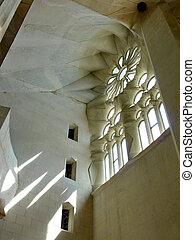 Inside windows in the Sagrada familia church, Barcelona, Spain
