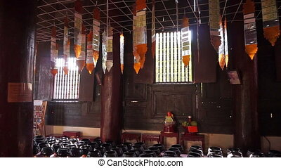 Inside wooden Buddhist temple - Video of Inside wooden...