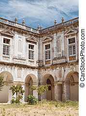 Inside yard of Igreja and Convento da Graca in Lisbon.