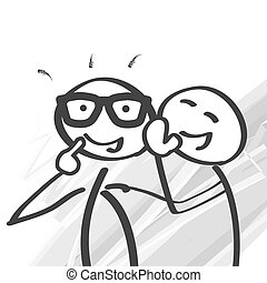 Stick figure whispering secrets - illustration