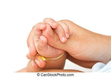 insieme, amore, lei, bambino, mano, tenerezza, presa a terra, madre