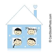 insieme, casa, disegno, famiglia felice, sorridente, schizzo, proprio