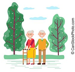 insieme, coppia, vecchie persone, passeggiata, parco, passeggiatina