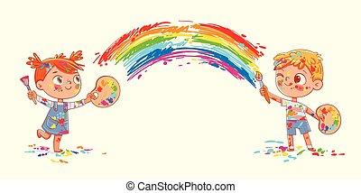 insieme, disegnare, arcobaleno, ragazza, ragazzo