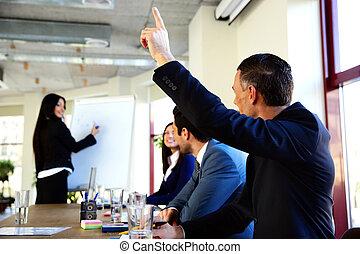 insieme, felice, ufficio, lavorativo, businesspeople