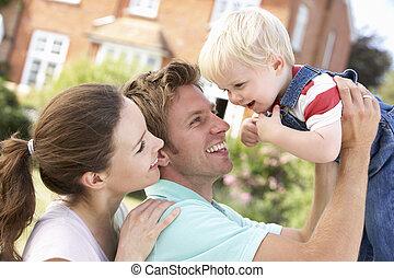 insieme, gioco, giardino, casa famiglia