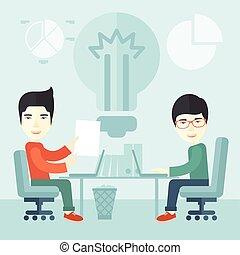 insieme., lavorativo, uomini affari, seduta, due, giapponese