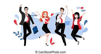insieme., lavoro squadra, appartamento, cartone animato, lineare, creatività, contorno, pose, illustrazione, innovazione, studenti, riuscito, differente, concept., adherents, gruppo, brainstorming, persone affari, o, vettore, felice