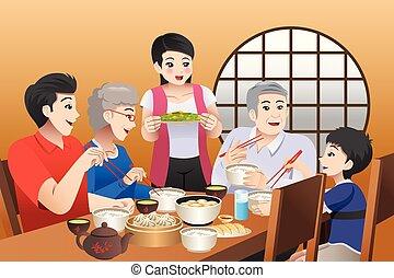 insieme, mangiare, famiglia, illustrazione, casa, cinese