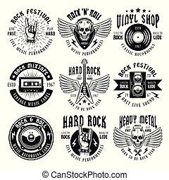 insieme pesante, metallo, emblemi, vettore, musica, roccia