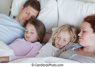 insieme, snoozing, famiglia