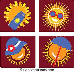 insieme sole, 4, protezione, icone
