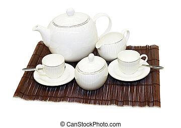 insieme tè, angolo
