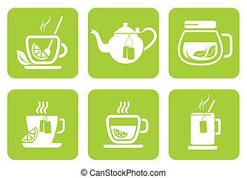 insieme tè, icone