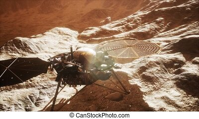 Insight Mars exploring the surface of red planet. Elements...