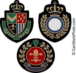 insigina, emblem, abzeichen, schutzschirm