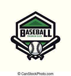 insigne, écusson, prime, bannière, pour, club, base-ball, emblème, illustration, élément, vecteur, étiquette, fond, logo, conception, blanc, gabarit