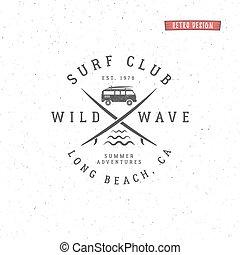 insigne, été, ensemble, éléments, conception, logo, design., toile, style, symbols., vendange, surfeur, hipster, plage, ressac, badge., emblème, cachet, graphiques, waves., print., embarquement, surfer, planche surf, vecteur, ou