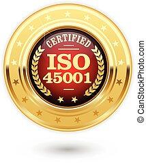 insigne, 45001, -, sécurité, iso, santé, professionnel, médaille, certifié