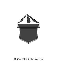 insigne, bon, logos., formulaire, vendange, aventure, étiquettes, isolé, étiquette, vecteur, retro, fond, vide, silhouette, blanc, montagnes., design.