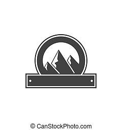 insigne, bon, logos., formulaire, vendange, aventure, étiquettes, montagnes., isolé, arrière-plan., vecteur, retro, vide, silhouette, blanc, design., écusson, stockage