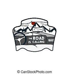 insigne, caractéristiques, scène, voiture., logo, pièce, voyage, calling., design., wanderlust, vendange, voyage, -, coutume, noir, dessiné, stockage, montagnes, badge., citation, main, aventure, included, intérieur, emblem., vecteur, route