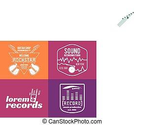 insigne, ensemble, radio, logotype, étiquette, podcast, production, musique, impression, écusson, emblème, logos, chemise, icons., studio, icône, son, badges., ou, enregistrement, vecteur, t, guitares, musical