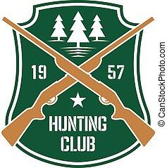 insigne, fusils, traversé, bouclier, chasse