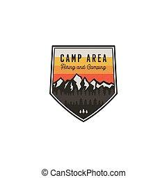 insigne, montagne, extérieur, désert, randonnée, secteur, vendange, voyage, isolé, lantern., aventure, badge., hipster, conception, explorateur, label., emblem., logo, stockage, vecteur, camping
