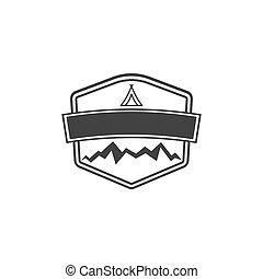 insigne, montagnes., bon, silhouette, formulaire, vendange, aventure, étiquettes, isolé, illustration, silhouett, arrière-plan., vecteur, retro, vide, logos., blanc, stockage, écusson, design.