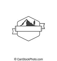 insigne, montagnes., bon, silhouette, formulaire, vendange, aventure, étiquettes, isolé, illustration, arrière-plan., vecteur, retro, vide, logos., blanc, stockage, écusson, design.
