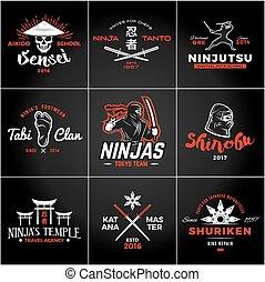 insigne, ninjas, ensemble, art, vendange, arme, katana,...