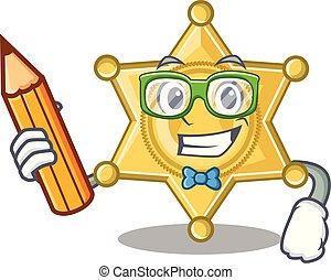 insigne police, étoile, dessin animé, étudiant