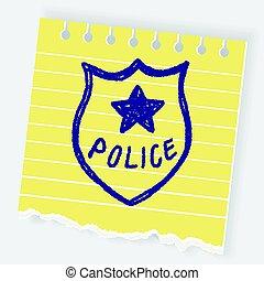 insigne police, griffonnage