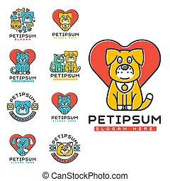 insigne, silhouette, centre, chouchou, monde médical, vétérinaire, chien domestique, chat, abri, sdf, vecteur, refuge, animal, element., animaux familiers