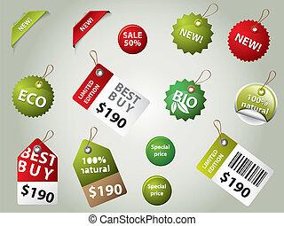 insignes, étiquettes, vente, collection