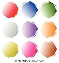 insignes, aimer, (sunburst), set., starburst, forme, vide, graphiques, autocollants, étiquettes prix