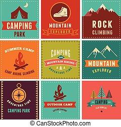 insignes, arrière-plans, randonnée, icônes, camp, éléments