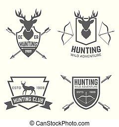 insignes, chasse, club, étiquettes, emblèmes, vecteur, noir