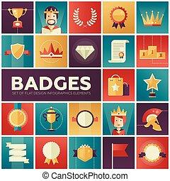 insignes, ensemble, récompenses, rubans, icônes