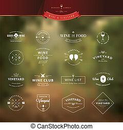 insignes, ensemble, vin, étiquettes